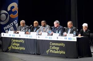 From left, State Sen. Anthony Williams, former State Sen. T. Milton Street, businessman Doug Oliver, former City Councilman Jim Kenney, Judge Nelson Diaz and former District Attorney Lynne Abraham participate in the PABJ/Community College of Philadelphia Moving Philadelphia Forward forum at Community College Thursday night. The forum focused on issues important to working class and poor Philadelphians.